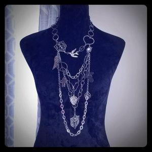 Multi link gunmetal chain necklace